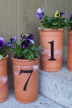 plant some pretty house number pots, outdoor living, repurposing upcycling, Planted pots are a great way to welcome guests