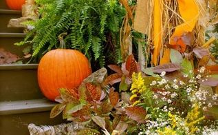 organic fall porch in the country, outdoor living, seasonal holiday decor, driftwood branches and wildflowers