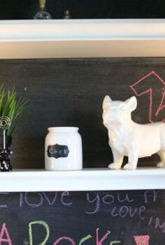 simple storage and lighting ideas for a pre teen cloffice, chalk paint, chalkboard paint, home decor, painting, shelving ideas, storage ideas, Shelves for all the accessories