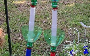 new amp improved recycled soda bottles hanging seedling rain chains, crafts, outdoor living, repurposing upcycling, This pic is of my new and improved hanging seedling rain chain and it only has 3 cups instead of 4 like my original one