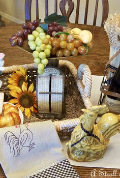country french farmhouse inspired, home decor, kitchen design, French chef and farmhouse rooster along with a little fruit and wine