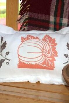 simple flour sack pillow for fall, crafts, seasonal holiday decor, Graphics ironed onto a simple flour sack towel made a cute seasonal pillow