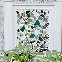 mosaic screen to hide air conditioner, crafts, outdoor living, Cracked and smashed China pieces of mirror and stained glass hide an ugly air conditioning unit