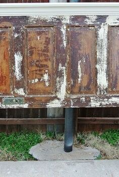 full sized distressed door headboard, painted furniture, repurposing upcycling