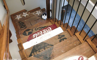 decorating from nothing to something a junker s full home tour, home decor, outdoor living, repurposing upcycling, Not being able to afford to carpet my stairs I painted them up instead creating stencils out of decals with my signmaking equipment