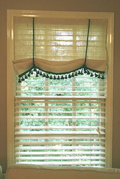 no sew burlap window treatment, home decor, window treatments, windows, No sew burlap window treatment