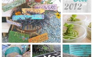 sow and dipity s best of 2012, crafts, outdoor living, Clockwise from the top left DIY Garden Signs From Grocery store to Garden Bed Soup Can Caddy Decorative Bark Mulch and How to make a Sinamay Bow