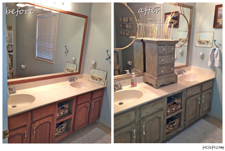 bathroom vanity makeover with annie sloan chalk paint hometalk - Bathroom Cabinets Before And After