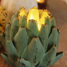 a simple autumn breakfast table, seasonal holiday decor, Artichoke candle holders