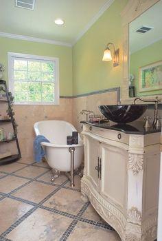 secondary baths can have style too, bathroom ideas, home decor, The Modern Mediterranean Secondary Bath Kennesaw GA