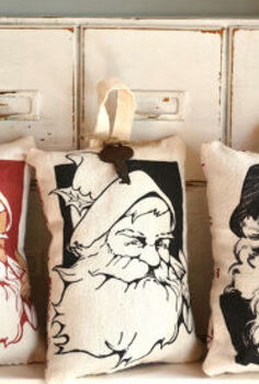 mini santa pillows from the printer, christmas decorations, crafts, seasonal holiday decor