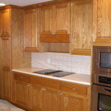 kitchen cabinet makeover, kitchen cabinets, kitchen design, painting, Oak cabinets before