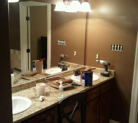 i used this idea and revamped my large bathroom mirror this weekend here are my - Large Bathroom Mirror
