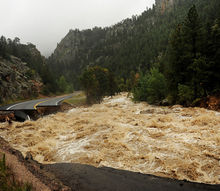 the floods in colorado, big water little road