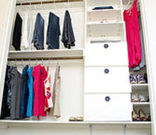 diy closet kit for under 50, closet, organizing, shelving ideas, storage ideas, Full picture of DIY Closet note extra storage on top shelf with bins