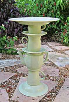 tea pot bird bath, crafts, outdoor living, repurposing upcycling