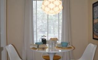 a fresh start for a breakfast nook, home decor, kitchen design, Decorating items included Luxury Linen Grommet Top Curtain Panels and Hand Woven Braided Natural Jute Rug and Adjustable Curtain Rod Set with a Pewter Ball Finial all from Overstock com