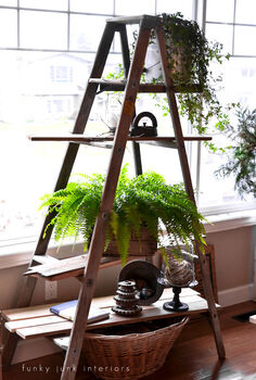 24 wow ideas from just a ladder, repurposing upcycling, A plant stand is created effortlessly with this ladder allowing the sunlight to shine right on through