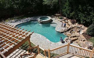 beautiful backyard and pool remodel, decks, landscape, outdoor furniture, outdoor living, ponds water features, pool designs, From above