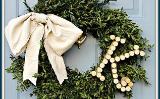 wine cork monogrammed boxwood wreath, repurposing upcycling, seasonal holiday d cor, wreaths, Monogrammed Boxwood Wreath