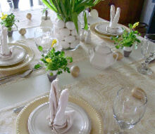 yellow and white spring easter table setting, easter decorations, seasonal holiday d cor, Yellow White tulip and egg arrangement centerpiece bunny folded napkins Pottery Barn yellow Emma plates found at the outlet for 2 49 each