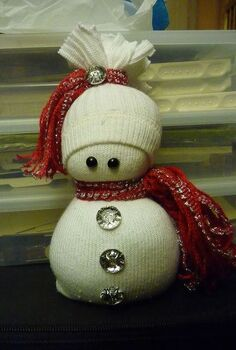 sock snowmen or snow babies as i like to call them, crafts, seasonal holiday decor, This one is made with a men s tube sock Makes a very large snowman