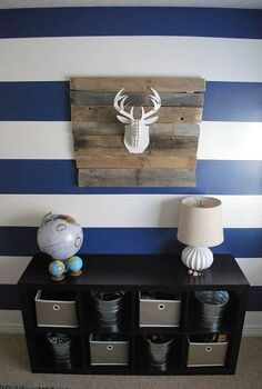 creating a focal wall with painted stripes, bedroom ideas, home decor, painting, This is my boys bedroom wall once it was all painted and accessorized