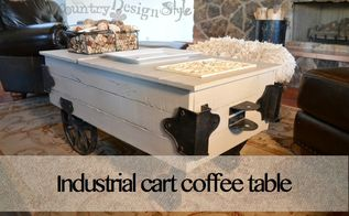 industrial cart coffee table make over, painted furniture, repurposing upcycling, woodworking projects, Faux industrial cart made over to fit our needs in the living room