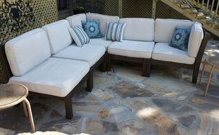 how to rehab your outdoor furniture and stained cushions, outdoor furniture, outdoor living, painted furniture, after clean up and a coat of Stain and Seal from Faux FX