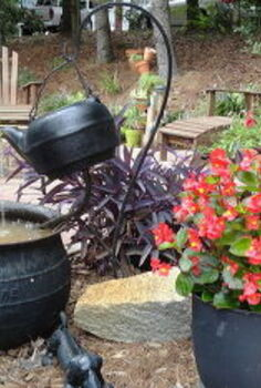 flowers and patio, flowers, gardening, outdoor living, patio, Hubby and I enjoy the fire pit and water spilling in the fountain