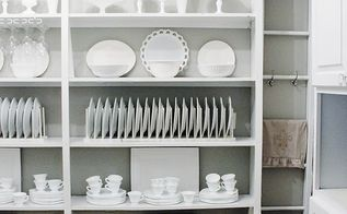 remodeled butler s pantry, closet, home decor, Open shelving with white dishes and platters Ready for company