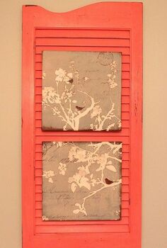 re purposing an old shutter with home made chalk paint, bathroom ideas, home decor, repurposing upcycling, I added some cute bird prints