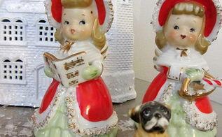 vintage christmas angels figurines more, christmas decorations, seasonal holiday decor, Vintage Lefton Angels and a vintage pug dog figurine