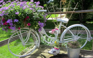 add a bike to the garden just for fun, flowers, gardening, outdoor living, repurposing upcycling
