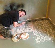 lace stencil floor transformation, bedroom ideas, flooring, home decor, painting, Brook of Bella Tucker Decorative Finishes in process on his stenciled floor transformation