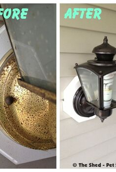 ugly light fixture makeover, curb appeal, doors, lighting, The ultimate comparison of before ugly and after like new what a difference