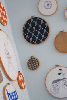 diy wall art with embroidery hoops simple and stylish, crafts, home decor, wall decor, Hung together they make a gorgeous display that can be swapped out as styles change and kids grow