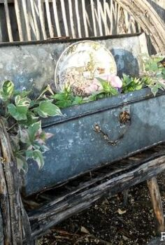 vintage galvanized tool box planter, flowers, gardening, repurposing upcycling, Vintage Galvanized Tool Box Planter on Willow Bench