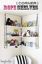 diy corner rope shelves, diy, how to, shelving ideas