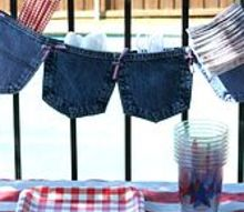 no sew upcycled jeans pocket garland, crafts, outdoor living, repurposing upcycling