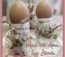 music and moss egg stands, crafts, easter decorations, seasonal holiday decor