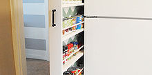 diy hidden storage canned food storage cabinet, storage ideas, urban living, woodworking projects, Pulls out for easy access to canned goods etc