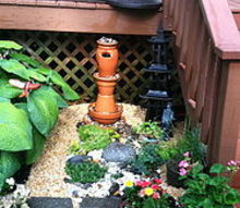 tera cotta water fountain, landscape, outdoor living, ponds water features, Our New Water Fountain and Rock Garden