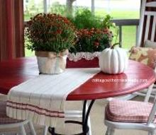sprucing up the front porch for fall, outdoor living, painting, porches, seasonal holiday decor, paint color of table Crimson by Valspar