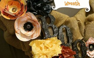 halloween burlap wreath, crafts, halloween decorations, seasonal holiday decor, wreaths, Halloween burlap wreath with paper flowers