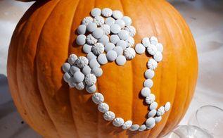thumbtack pumpkins, crafts, halloween decorations, seasonal holiday decor