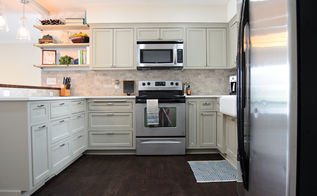 remodeled kitchen using original cabinets with diy custom doors, home decor, home improvement, kitchen backsplash, kitchen cabinets, kitchen design, repurposing upcycling, Doorway used to be where the open shelving now is