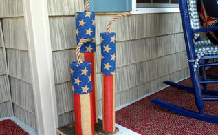 homemade firecracker burlap porch decorations, crafts, outdoor living, patriotic decor ideas, porches, seasonal holiday decor, wreaths