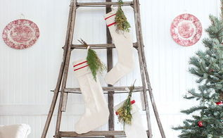 antique orchard ladder dressed for christmas, christmas decorations, repurposing upcycling, seasonal holiday decor, wreaths