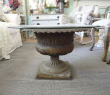 diy garden urn turned coffee table, home decor, painted furniture, repurposing upcycling, shabby chic, Simply find an antique cast iron urn and top it with glass